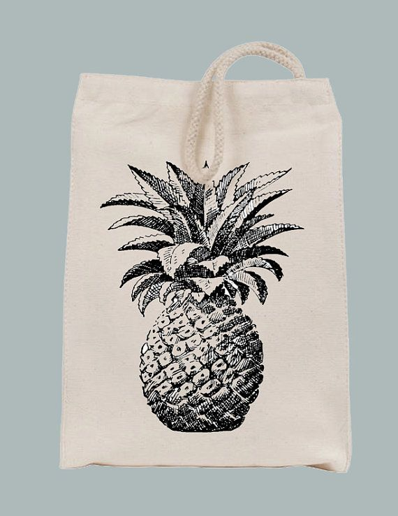 Fun Pineapple Illustration Canvas Lunch Bag Tote with Velcro closure and Rope Handle