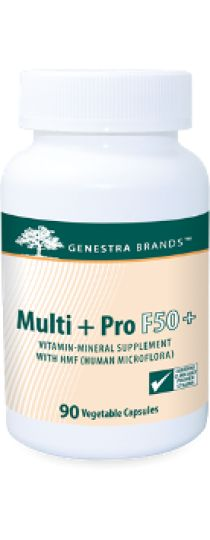 Multi+Pro F50+ by Genestra  is an advanced multi-vitamin formula which also provides a moderate-level, long-term maintenance probiotic combination destined for women over 50. The formulation provides two strains of proprietary human-sourced Lactobacillus acidophilus, Bifidobacterium bifidum and Bifidobacterium animalis subsp. lactis, along with other key ingredients for mature women's health.