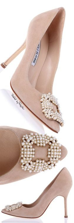 Manolo Blahnik ~ Suede High Heel Pumps, Dusty Rose w Pearl embellishment #fashion #shoes #accessories: