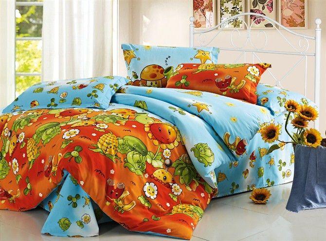 100 cotton plants vs zombies blue orange bedding queen for Cuartos decorados de plants vs zombies