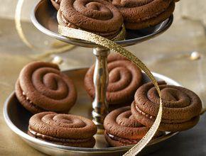 Chocoladen-Sandteig-Schnecken