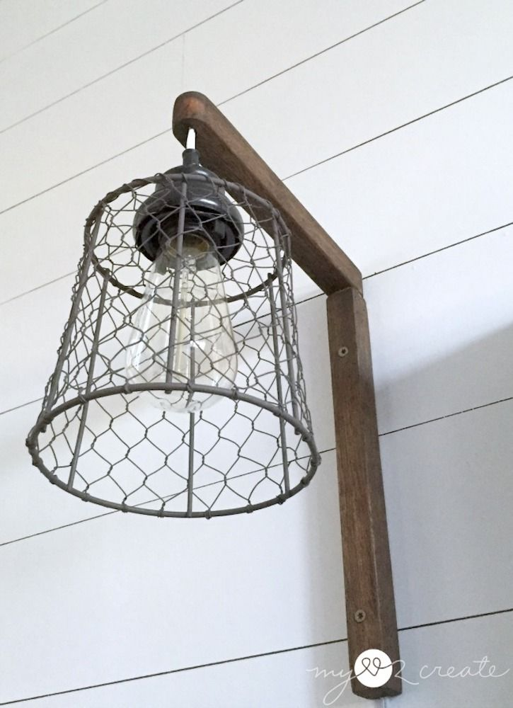 DIY Wire Basket Wooden Wall Sconce