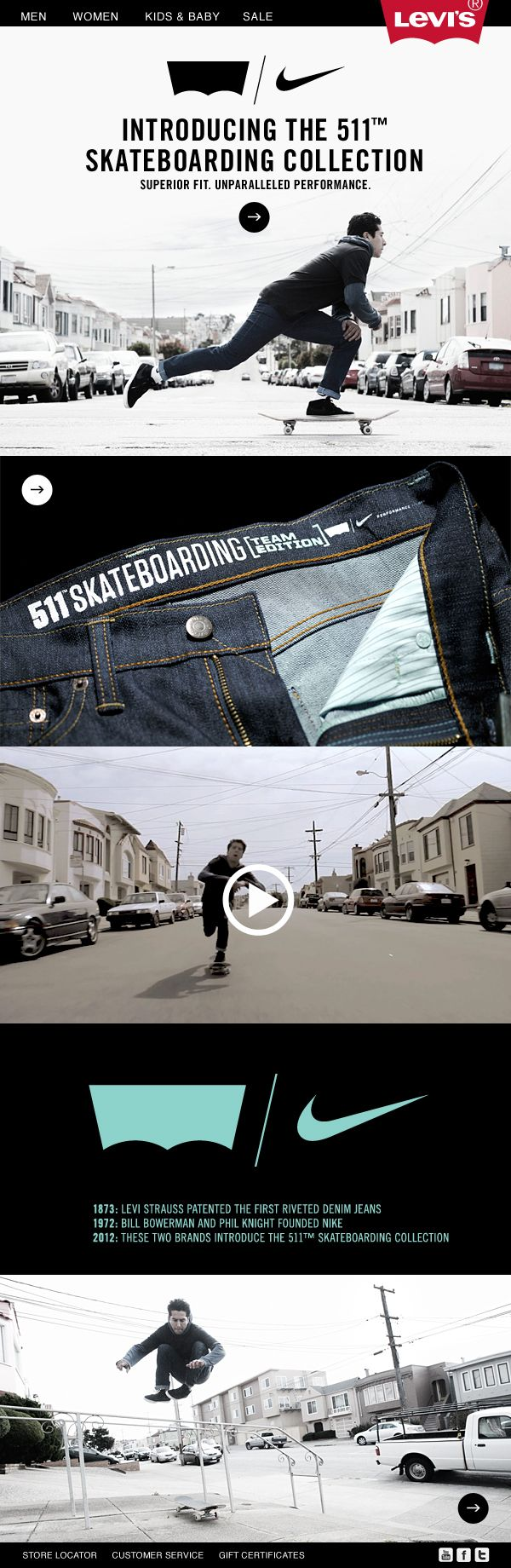 Nike x Levi's Skateboarding Collection Microsite by Erik Homsapaya - love the storytelling aspect of this site #webdesign