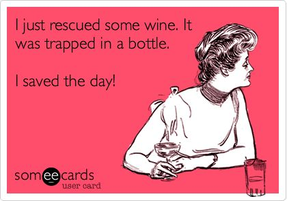Funny Friendship Ecard: I just rescued some wine. It was trapped in a bottle. I saved the day!  <3 @Lexi Pixel Southward