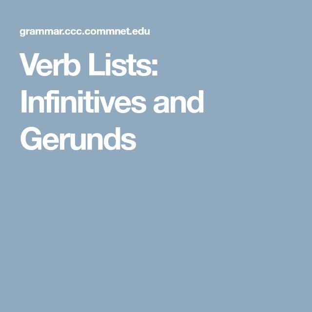 Verb Lists: Infinitives and Gerunds