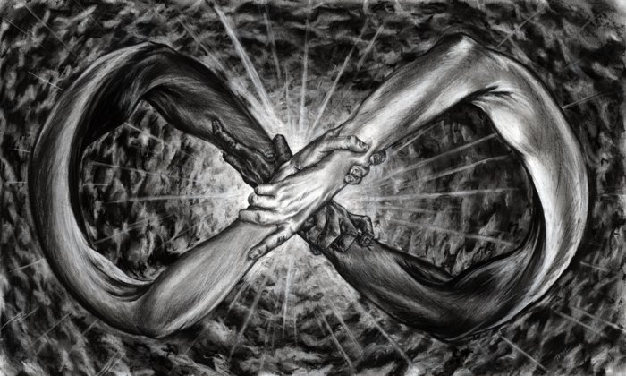 """Eternity by Paul Bielaczyc.  The infinity symbol is very important to myself and MP. I love the starkness of PB's black and white's. If you like this check out """"Nightmare"""" among other examples of his work."""