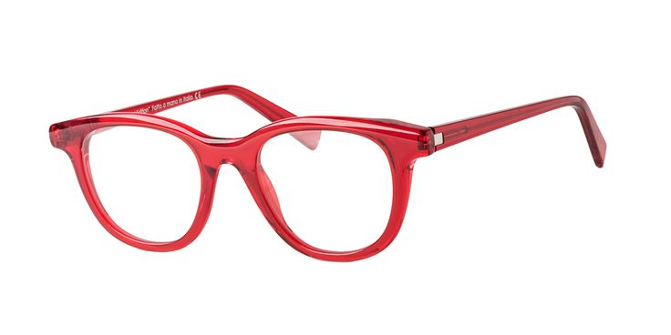 GLARE mod. DAVID col. 523 TRANSPARENT RED. A Design Eyewear completely handmade in Italy
