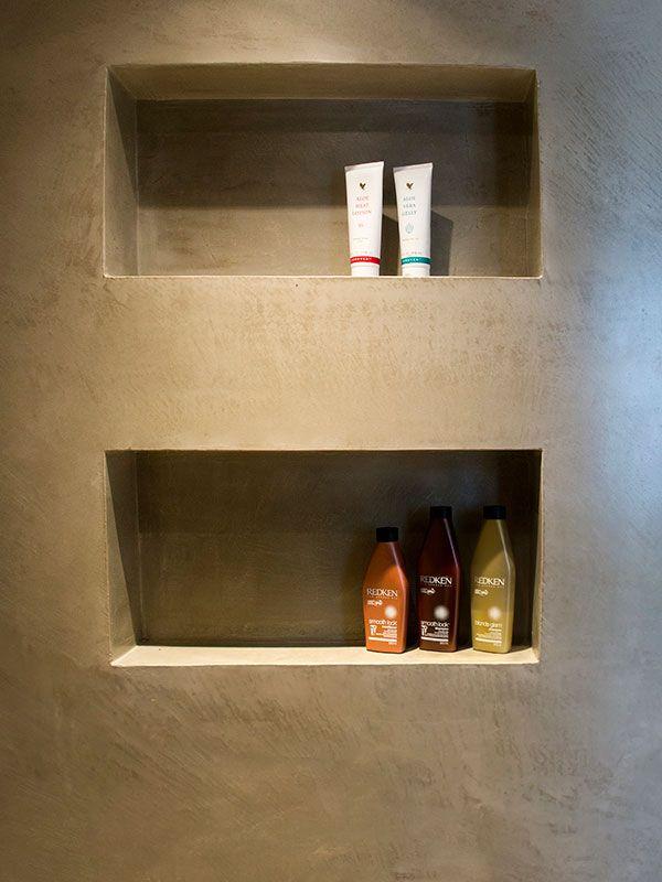 microtopping idealwork doccia rivestita effetto cemento vani porta sapone