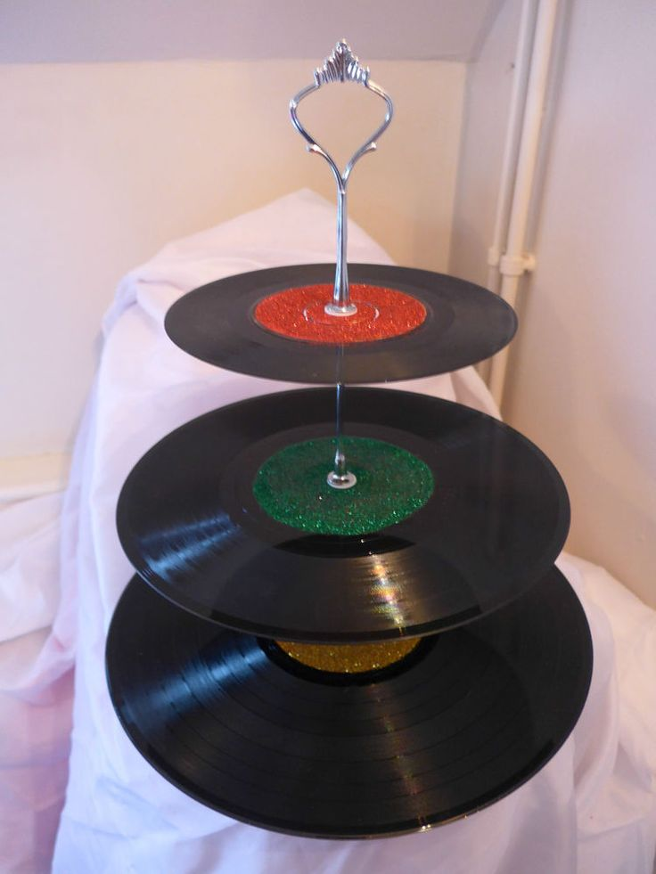 Glittered Vinyl Record Cake Stand 3 Tier - Vintage Retro Made to Order Christmas