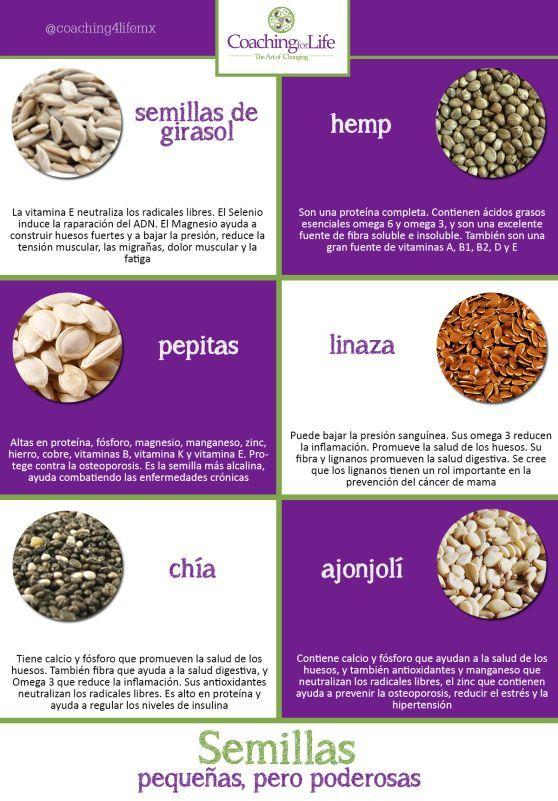 6 pequeñas semillas para mejorar tu salud. #semillas #infografia