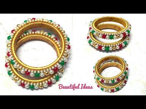 How to Make Silk thread Pearl Designer Bangles//Latest Pearls & Beads Designer Bangles //DIY// - YouTube