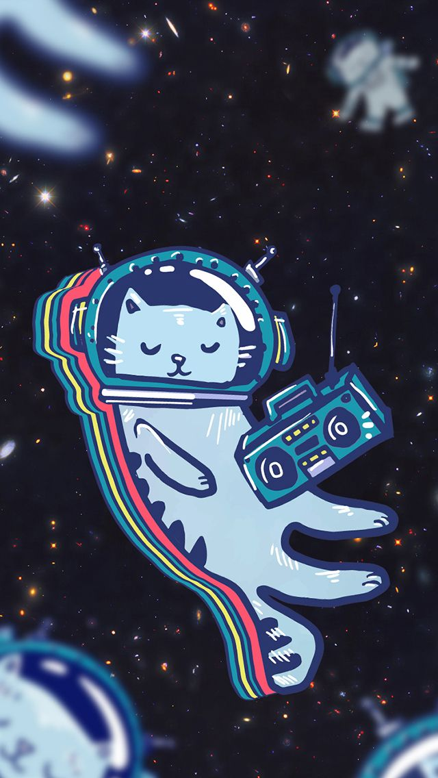 ↑↑TAP AND GET THE FREE APP! Art Creative Cat Space Funny HD iPhone Wallpaper