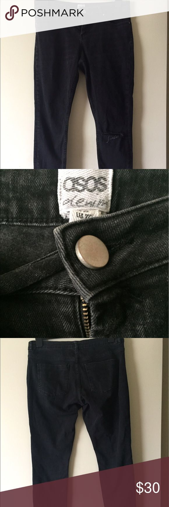 ASOS Ankle Grazer Jeans in Dark Wash ASOS Ankle Grazer Jeans in Dark Wash with Busted Knee ASOS Jeans Skinny