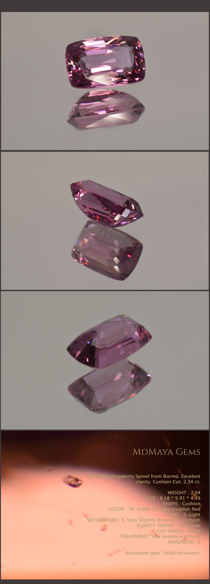 Rare Pink Raspberry Spinel from Burma. Excelent clarity. Cushion Cut. 2.34 ct.  Loose Pink Spinel Gemstones for sale MdMaya Gems