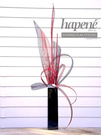 Red & Black Hapene arrangement - Hapene Online Store, flax flowers and arrangements  ON SALE for $120