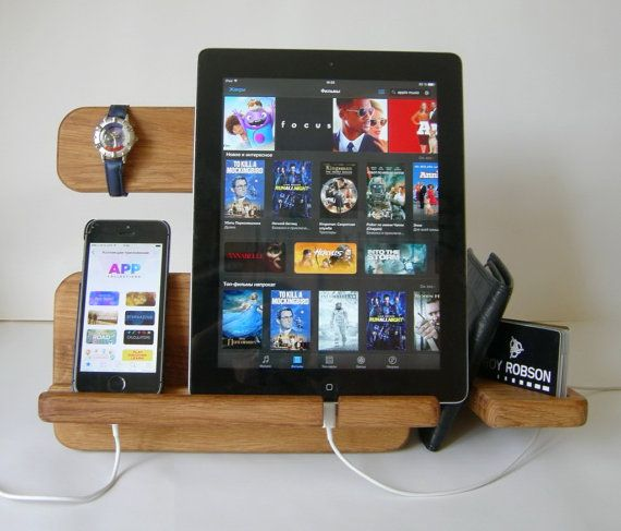 Docking Station Wood iPad Dock iPhone Stand by artWoodworking