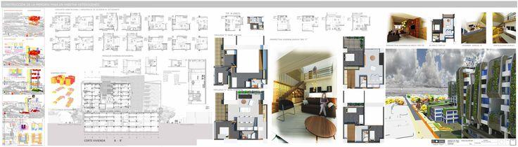 Tipologías departamentos compartidos residencial estudiantil + Típologías de viviendas duplex y mixtas. + Imágenes interiores de la propuesta residencial.