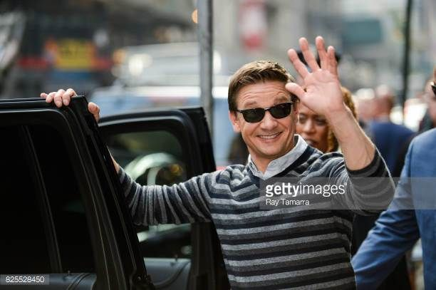 Actor Jeremy Renner leaves the 'Good Morning America' taping at the ABC Times Square Studios on August 02 2017 in New York City