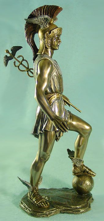 "Hermes the Messenger God | Hermes with Caduceus Standing on the World 13"" H Cold Cast Bronze"