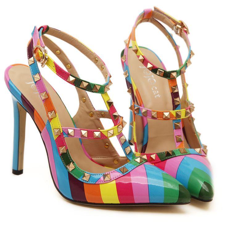 2015 primavera de alta qualidade mulheres sapatos da moda mulheres bombas de salto alto rebites & pico sapatos de couro de patente sapatos de festa sandálias em Scarpins de Sapatos no AliExpress.com | Alibaba Group