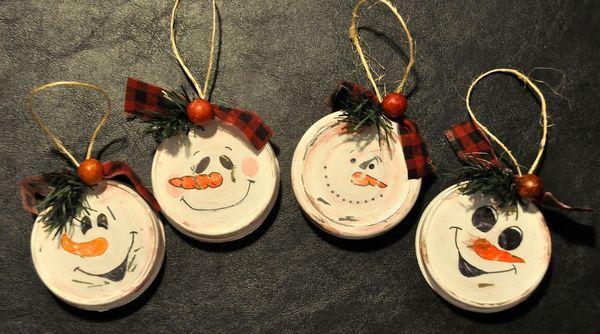 Snowman lid ornies