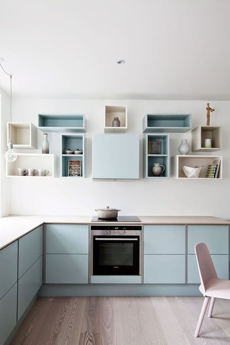 Pastel modular kitchen - blue