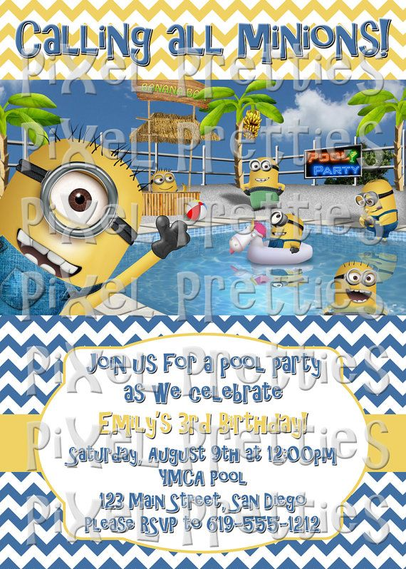 Best Minion Beach Party Images On Pinterest DIY Box And - Birthday party invitation minions
