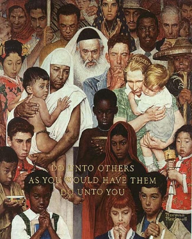 "Norman Rockwell - ""Do unto others as you would have the do unto you"" - I really enjoy the faces Rockwell painted as well as many of the subjects #Americanart"