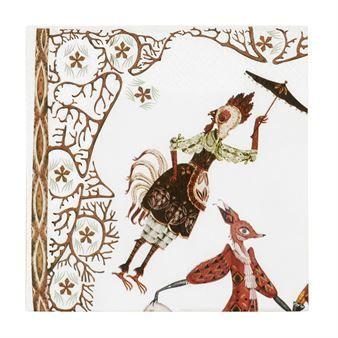 Skapa en tilltalande dukning med Tanssi servett designad av Klaus Haapaniemi för Iittala. Servetterna är tillverkad i fint papper och har ett mönster med en mytologisk berättelse som är inspirerad av de mönster Klaus Haapaniemi skapat för Finlands Nationalopera i samband med produktionen av