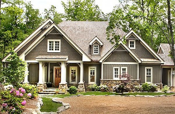 06202 Lodgemont Cottage, Front Elevation, Craftsman Style House Plans, Terrace Level House Plans