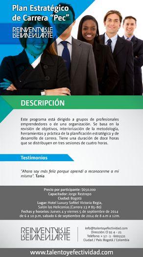 Aquí encontrarás la información sobre el próximo Plan de Carrera que se realizará en Bogotá.
