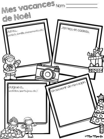 Voici une petite feuille d'activité pour les vacances de Noël. Les élèves peuvent y écrire ou y dessiner ce qu'ils ont fait durant les vacances de Noël. Cette feuille peut aussi être ajoutée au portfolio des élèves.