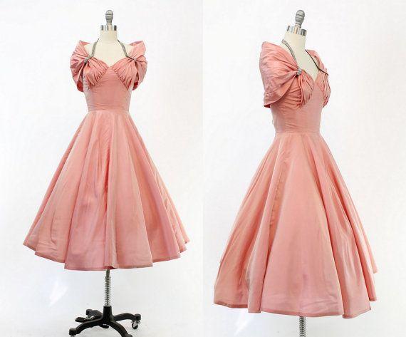 años 50 Lilli diamante XS Vestido de 1950 vestido Vintage Rhinestone cabestro vestido de fiesta / Aurora cielos Vestido