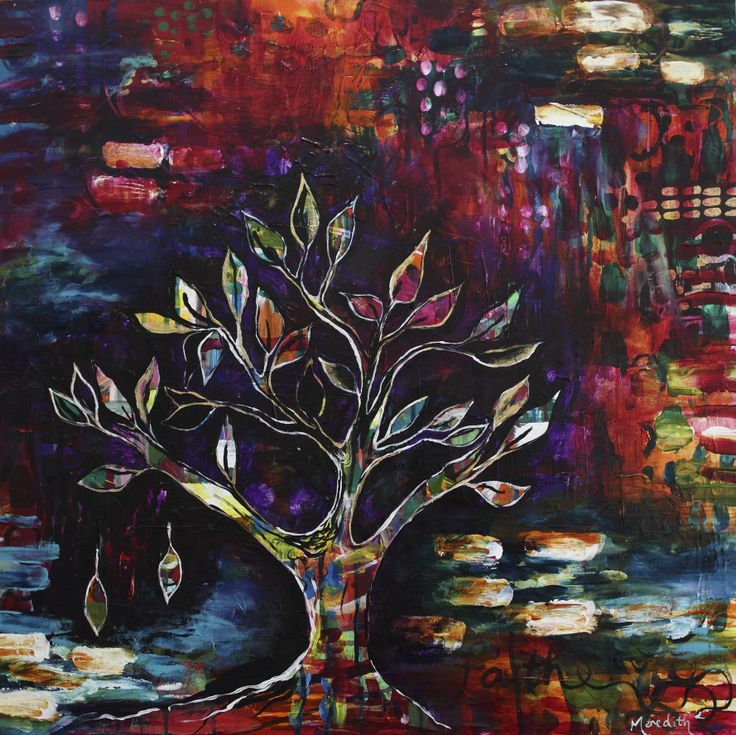 39 faith 39 original acrylic painting on canvas 24 x 24 in size by meredith mallin arbre de. Black Bedroom Furniture Sets. Home Design Ideas