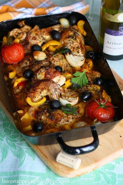 Kurczak duszony w winie po francusku