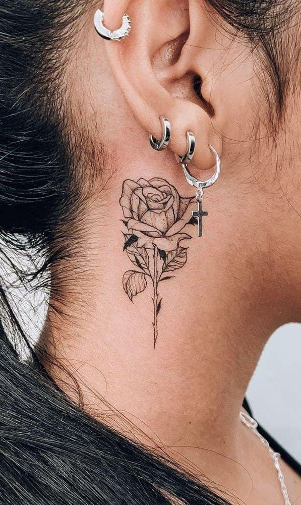 Pin by Alexandra Ramos on tatuagens   Behind ear tattoos, Tattoos, Girl neck tattoos
