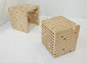 Unique Wooden Table With Cubes Surface U2013 Infill Nesting Table · Bench ...