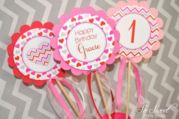 Valentine Birthday Centerpiece sticks - Valentine's Day Birthday Party - February Birthday - Heart Chevron Birthday Decoration - Set of 3