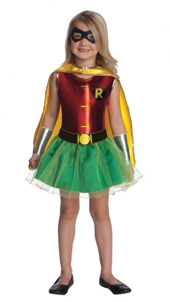 DC Super Hero Robin Tutu Dress Child Costume  Holy moley, Batman!  Every little girl will have a WAM! of a time in this caped costume!  Includes: Tutu dress, Belt, Cape, Glitter Eye mask, and Gauntlets!