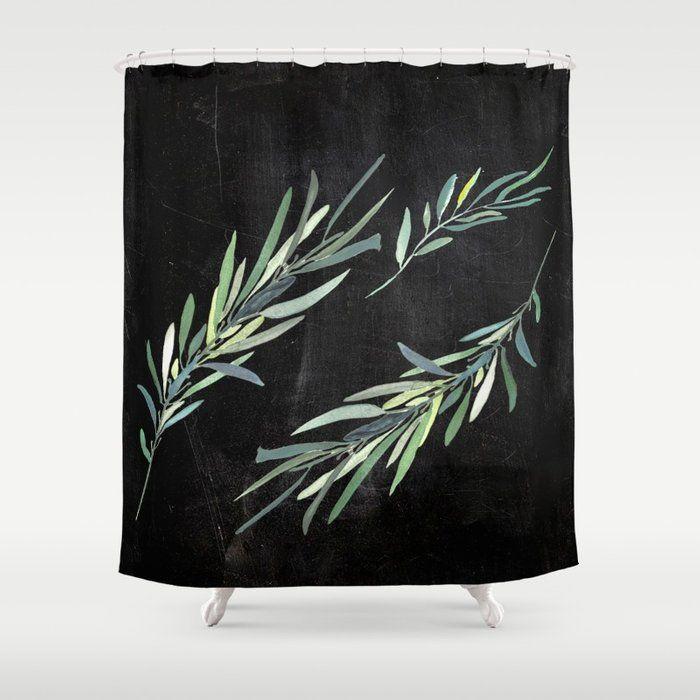 Eucalyptus Leaves On Chalkboard Shower Curtain Curtains