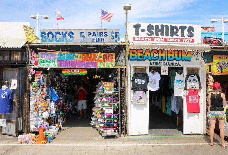 Shopping on the boardwalk in Venice Beach.