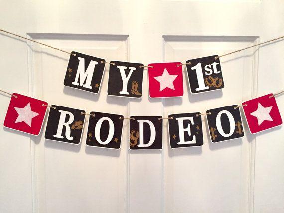 MY FIRST RODEO I am one cowboy birthday western by RedBirdBanners