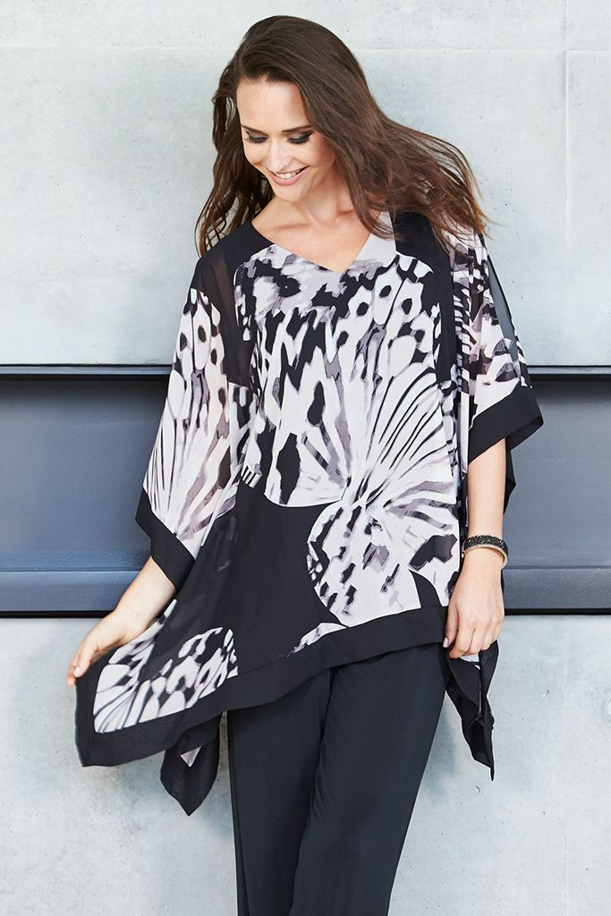 PRINT KAFTAN This Liz Jordan Kaftan will suit all shapes & sizes. Longline & floaty, this fully lined chiffon style features graceful batwing sleeves with splits & a flattering V-shape neckline. Complete with a gorgeous black & mushroom print, this beautiful style is perfect for an evening out.