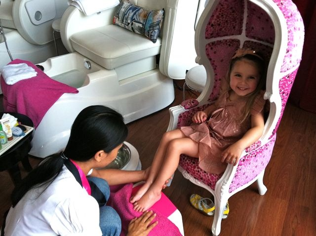 """At the fresh, new and slick """"New York style salon"""" Think Pink Nails, the little ones will be delighted as soon as they lay eyes on the sweet little chair that they get to sit in while being pampered.    www.travelling-bali.com"""