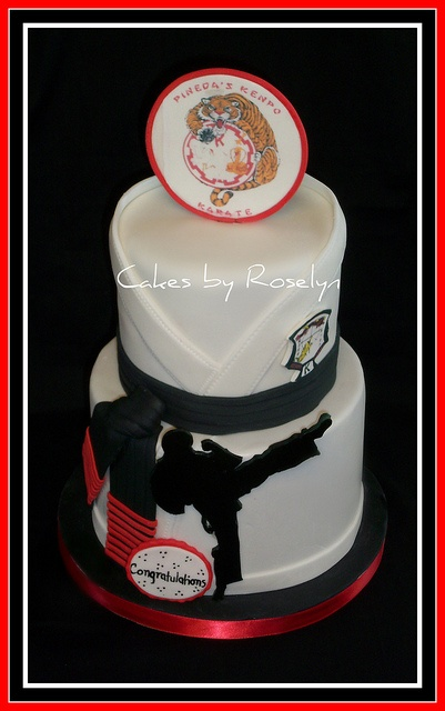@ Ashley Savoy---for R and/or B's next Bday! Karate Gi Tower cake