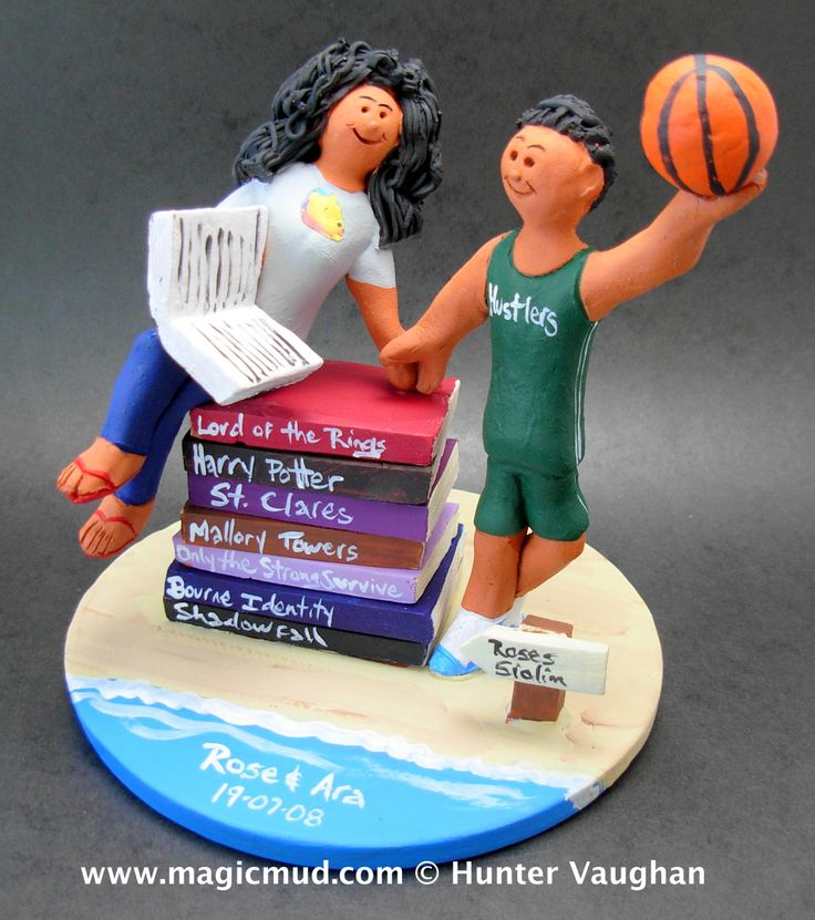 Literary Bride Wedding Cake Topper by http://magicmud.com/Wedding photos.htm magicmud@magicmud.com  1 800 231 9814  https://www.facebook.com/PersonalizedWeddingCakeToppers  https://twitter.com/caketoppers  #wedding #cake #toppers #custom#personalized #Groom #bride #anniversary #birthday#weddingcaketoppers#cake toppers#figurine#gift#wedding cake toppers#basketball#reading