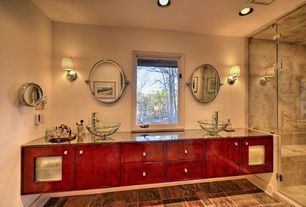 Asian Master Bathroom with frameless showerdoor, Kraus crystal clear glass vessel sink and decus faucet, Wall sconce