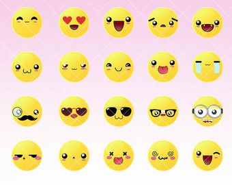 kawaii faces expressions clipart emoticons kawaii digital graphics for personal and commercial use