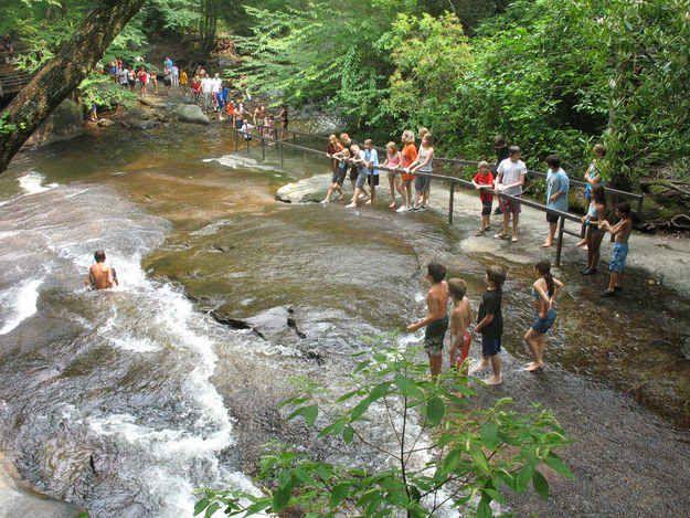Pisgah National Park's sliding rocks in North Carolina