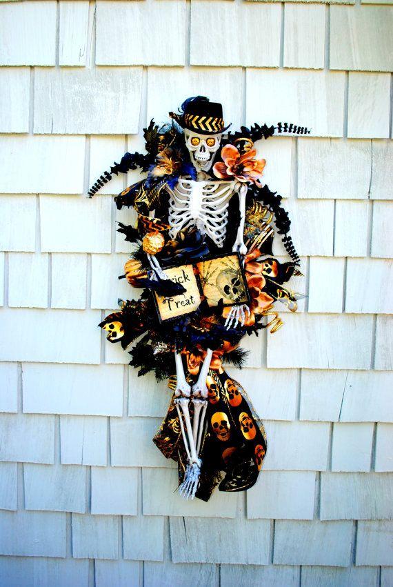 Halloween Wreath, Skeleton Wreath, 3 ft Tall Skeleton Wreath on Swag, Crows…